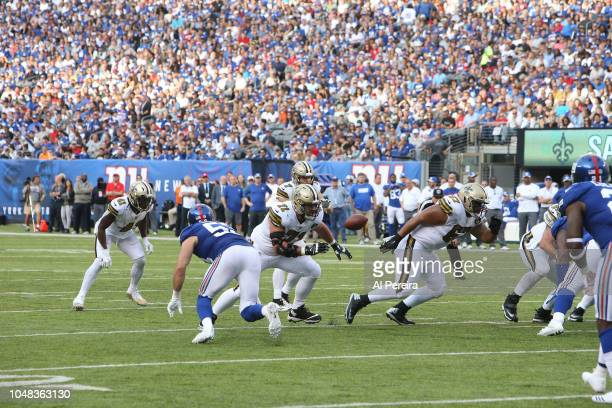 Ryan Ramczyk of the New Orleans Saints in action against the New York Giants during their game at MetLife Stadium on September 30, 2018 in East...