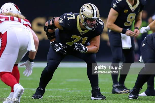 Ryan Ramczyk of the New Orleans Saints in action during a game against the Arizona Cardinals at the Mercedes Benz Superdome on October 27, 2019 in...