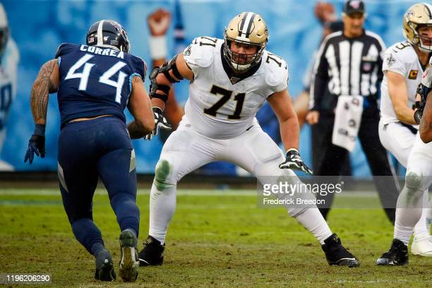 Ryan Ramczyk of the New Orleans Saints plays against the Tennessee Titans at Nissan Stadium on December 22, 2019 in Nashville, Tennessee.