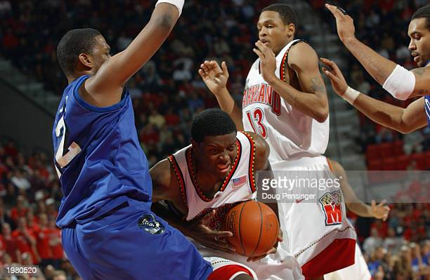 Ryan Randle of the Maryland Terrapins drives against the Hampton Pirates during the game at Comcast Center on January 8 2003 in College Park Maryland...