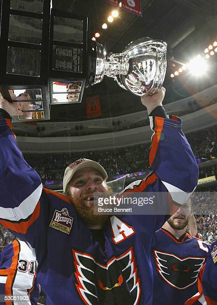 Ryan Ready celebrates the Philadelphia Phantoms 52 win over the Chicago Wolves in the American Hockey League Calder Cup final game at the Wachovia...