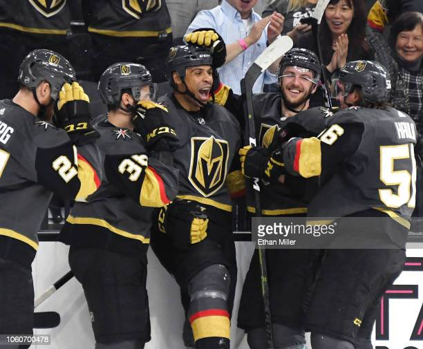 Ryan Reaves of the Vegas Golden Knights celebrates with teammates after scoring a secondperiod powerplay goal against the Ottawa Senators during...