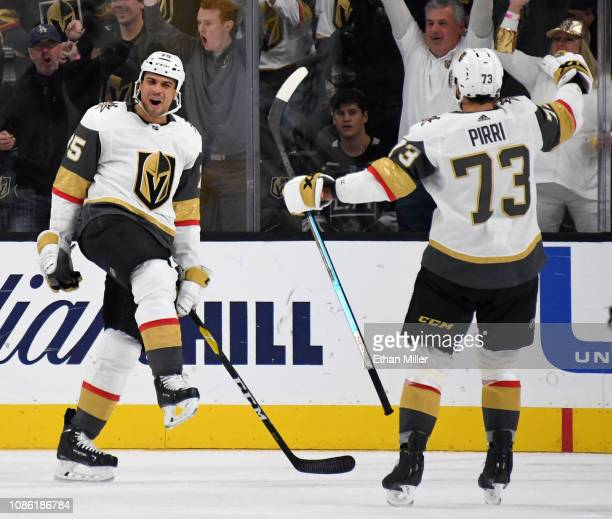 Ryan Reaves and Brandon Pirri of the Vegas Golden Knights celebrate after Pirri assisted Reaves on a thirdperiod powerplay goal against the Los...