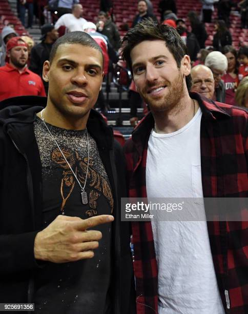 Ryan Reaves and James Neal of the Vegas Golden Knights attend a game between the Nevada Wolf Pack and the UNLV Rebels at the Thomas Mack Center on...