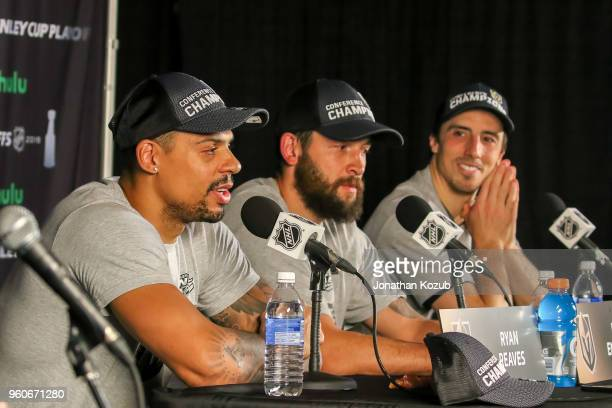 Ryan Reaves Deryk Engelland and MarcAndre Fleury of the Vegas Golden Knights take part in the postgame press conference following a 21 victory over...