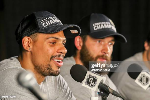 Ryan Reaves is all smiles as he takes part in the postgame press conference following a 21 victory over the Winnipeg Jets in Game Five of the Western...