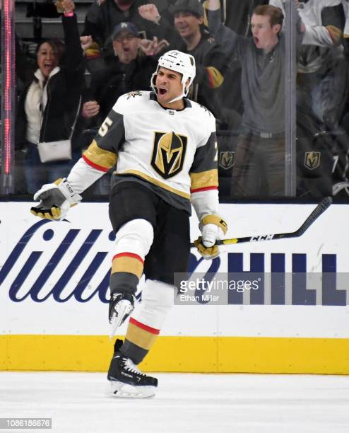 Ryan Reaves of the Vegas Golden Knights celebrates after scoring a third-period power-play goal against the Los Angeles Kings during their game at...