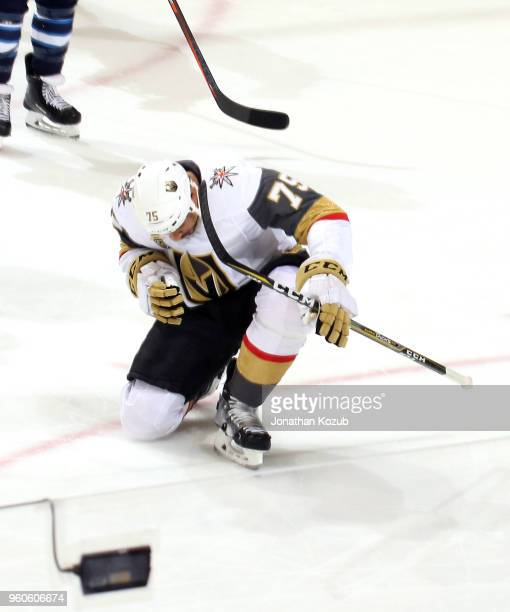 Ryan Reaves of the Vegas Golden Knights celebrates after scoring a second period goal against the Winnipeg Jets in Game Five of the Western...