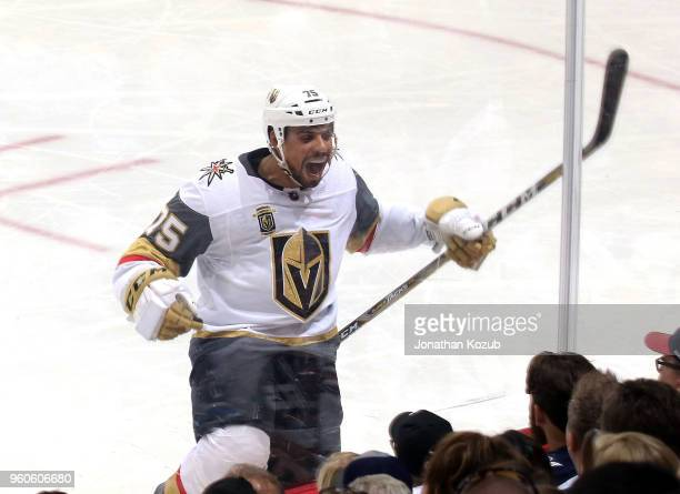 Ryan Reaves of the Vegas Golden Knights celebrates his second period goal against the Winnipeg Jets in Game Five of the Western Conference Final...