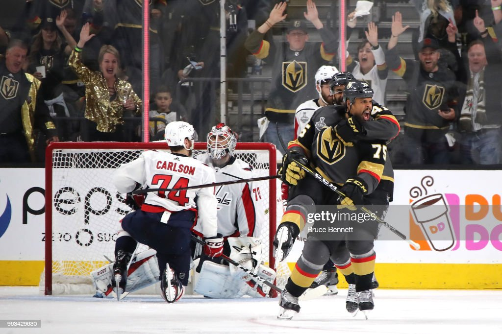 Ryan Reaves #75 of the Vegas Golden Knights celebrates his third-period goal against the Washington Capitals in Game One of the 2018 NHL Stanley Cup Final at T-Mobile Arena on May 28, 2018 in Las Vegas, Nevada.