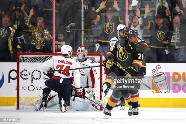 Ryan Reaves of the Vegas Golden Knights celebrates his thirdperiod goal against the Washington Capitals in Game One of the 2018 NHL Stanley Cup Final...