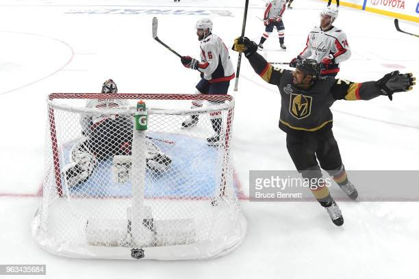 Ryan Reaves of the Vegas Golden Knights celebrates his thirdperiod goal past Braden Holtby of the Washington Capitals in Game One of the 2018 NHL...