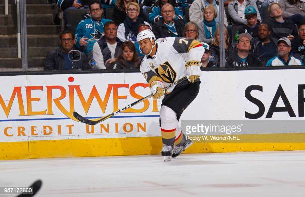 Ryan Reaves of the Vegas Golden Knights skates against the San Jose Sharks in Game Six of the Western Conference Second Round during the 2018 NHL...