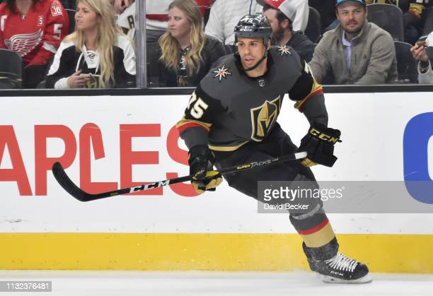 Ryan Reaves of the Vegas Golden Knights skates during the first period against the Detroit Red Wings at TMobile Arena on March 23 2019 in Las Vegas...