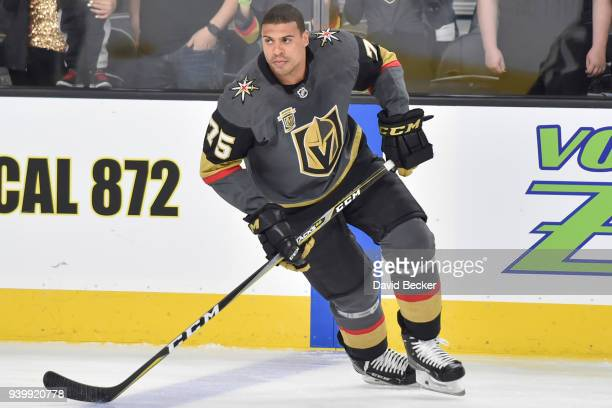 Ryan Reaves of the Vegas Golden Knights warms up prior to the game against the Arizona Coyotes at TMobile Arena on March 28 2018 in Las Vegas Nevada