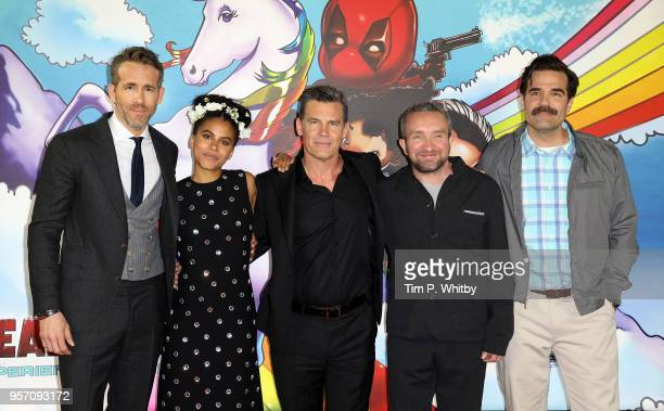 Ryan Renolds Zazie Beetz Josh Brolin Eddie Marsden and Rob Delaney attend the 'Deadpool 2' photocall at Empire Casino Leicester Square on May 10 2018...