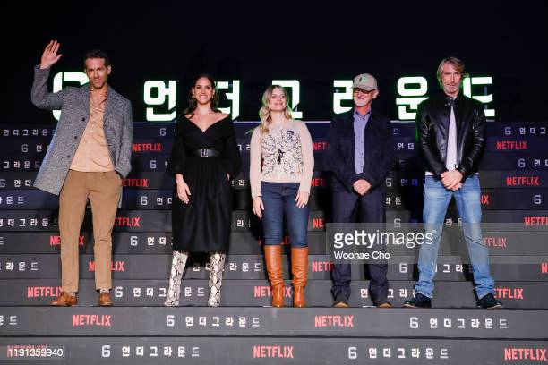 Ryan Reynolds Adria Arjona Mélanie Laurent Ian Bryce and Michael Bay attend the press conference for the world premiere of Netflix's '6 Underground'...