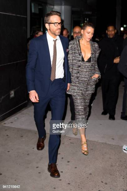 Ryan Reynolds and Blake Lively are seen in the Upper East Side on April 2 2018 in New York City