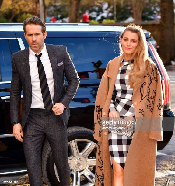 Ryan Reynolds and Blake Lively arrive to the 'Final Portrait' New York screening at Guggenheim Museum on March 22, 2018 in New York City.