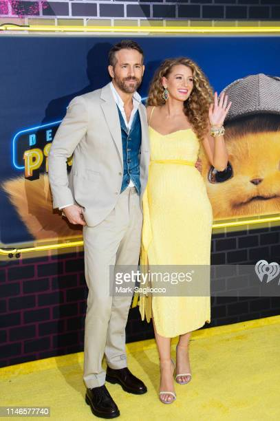 Ryan Reynolds and Blake Lively attend the Pokemon Detective Pikachu US Premiere at Times Square on May 02 2019 in New York City