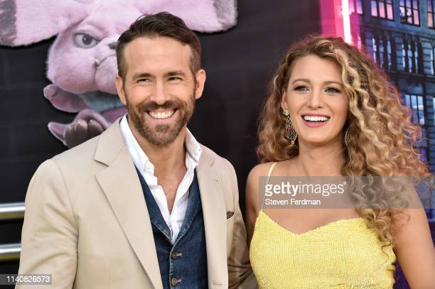 Ryan Reynolds and Blake Lively attend the premiere of Pokemon Detective Pikachu at Military Island in Times Square on May 2 2019 in New York City