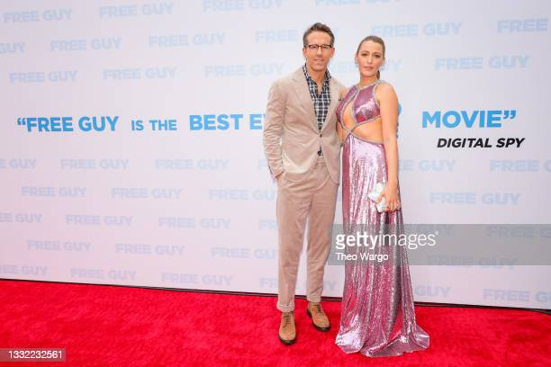 Ryan Reynolds and Blake Lively attend the World Premiere of 20th Century Studios' Free Guy on August 03, 2021 in New York City.