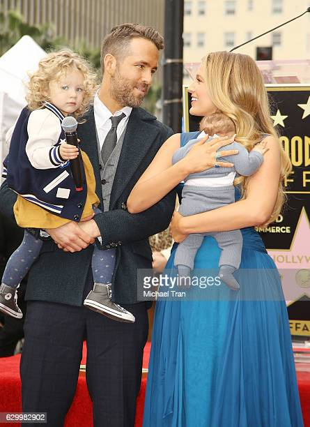 Ryan Reynolds and Blake Lively with their children attend the ceremony honoring actor Ryan Reynolds with a Star on The Hollywood Walk of Fame held on...