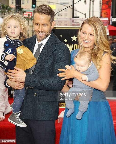 Ryan Reynolds and Blake Lively with their daughters attend the ceremony honoring actor Ryan Reynolds with a Star on The Hollywood Walk of Fame held...