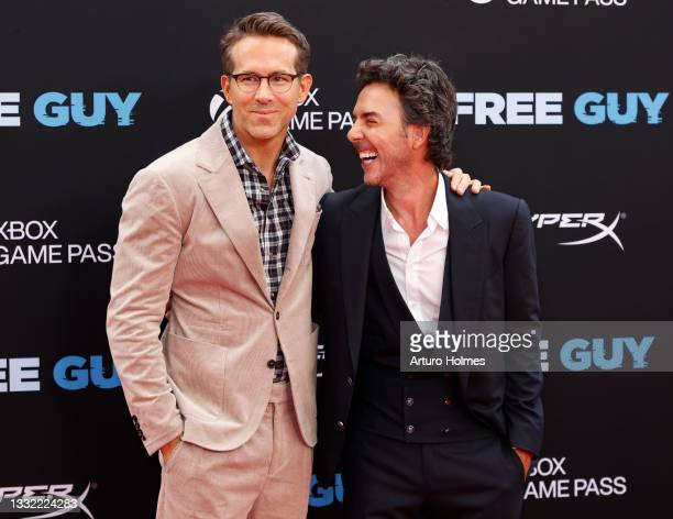 """Ryan Reynolds and director Shawn Levy attend the """"Free Guy"""" New York Premiere at AMC Lincoln Square Theater on August 03, 2021 in New York City."""