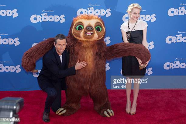 Ryan Reynolds and Emma Stone attend The Croods film premiere at the AMC Loews Lincoln Square in New York City �� LAN