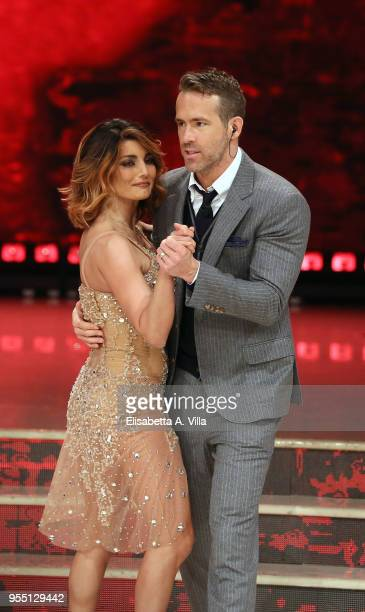 Ryan Reynolds and her dance partner Samantha Togni perform on the Italian TV show 'Ballando Con Le Stelle' at RAI Auditorium on May 5 2018 in Rome...