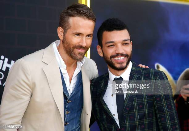 Ryan Reynolds and Justice Smith attend Pokemon Detective Pikachu US Premiere at Times Square on May 02 2019 in New York City