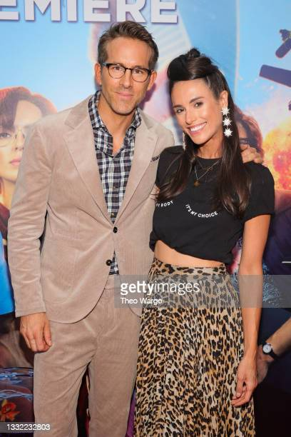 Ryan Reynolds and Liz Plank attend the World Premiere of 20th Century Studios' Free Guy on August 03, 2021 in New York City.