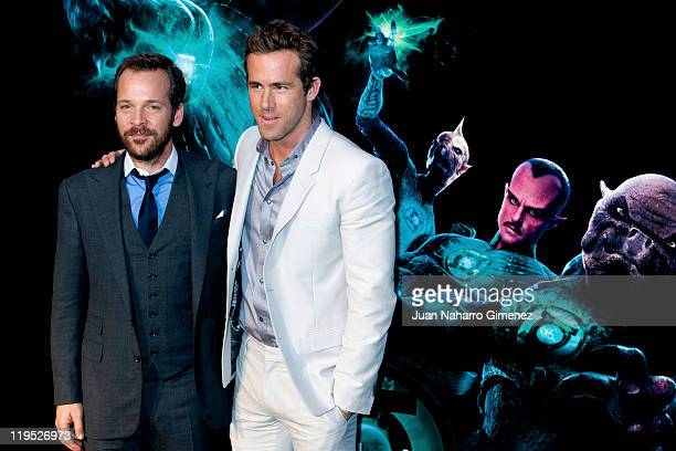 Ryan Reynolds and Peter Sarsgaard attend the Green Lantern premiere at Callao Cinema on July 21 2011 in Madrid Spain