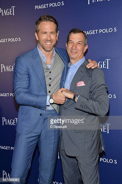 Ryan Reynolds and Piaget CEO Philippe Leopold-Metzger attend the Piaget new timepiece launch at the Duggal Greenhouse on July 14, 2016 in New York...