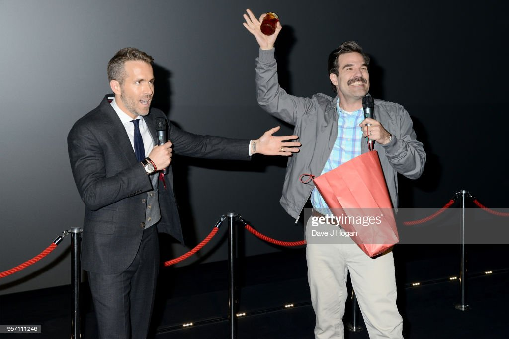 Ryan Reynolds (L) and Rob Delaney attend the 'Deadpool 2' fan screening at Cineworld Leicester Square on May 10, 2018 in London, England.