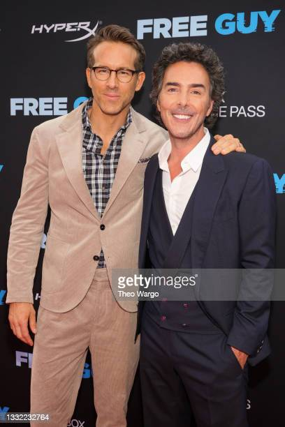 Ryan Reynolds and Shawn Levy attend the World Premiere of 20th Century Studios' Free Guy on August 03, 2021 in New York City.