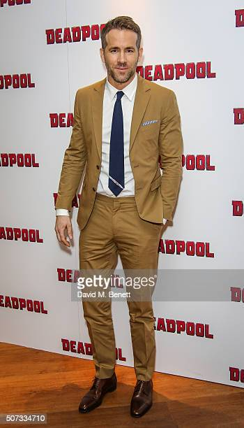 Ryan Reynolds attends a fan screening of 'Deadpool' at The Soho Hotel on January 28 2016 in London England