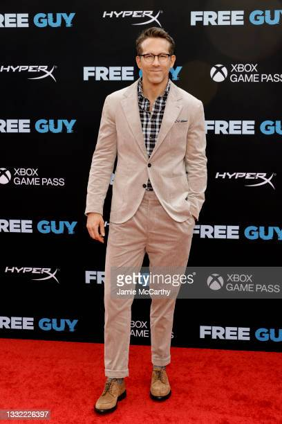 """Ryan Reynolds attends the """"Free Guy"""" New York Premiere at AMC Lincoln Square Theater on August 03, 2021 in New York City."""