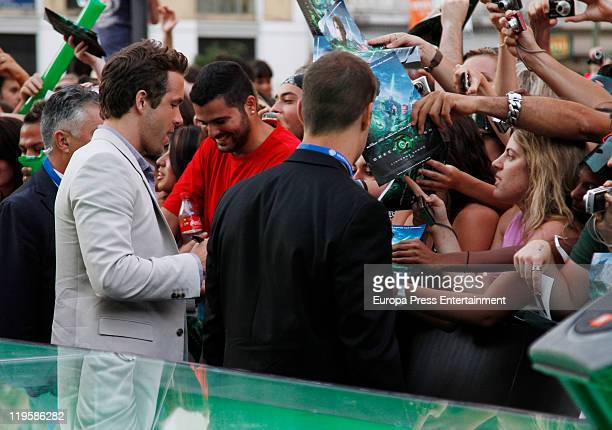 Ryan Reynolds attends the premiere of 'Green Lantern' at Callao Cinema on July 21 2011 in Madrid Spain