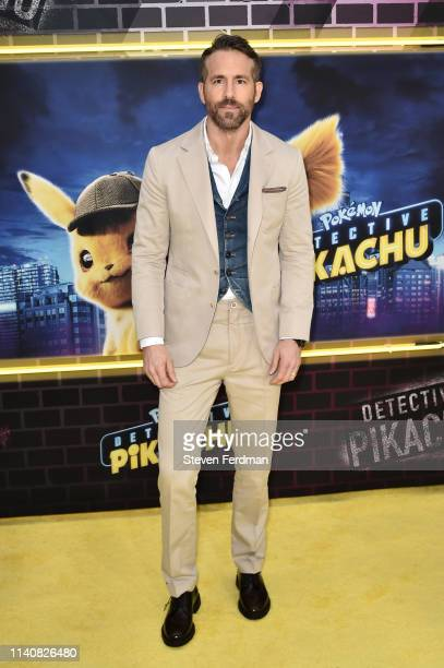 Ryan Reynolds attends the premiere of Pokemon Detective Pikachu at Military Island in Times Square on May 2 2019 in New York City
