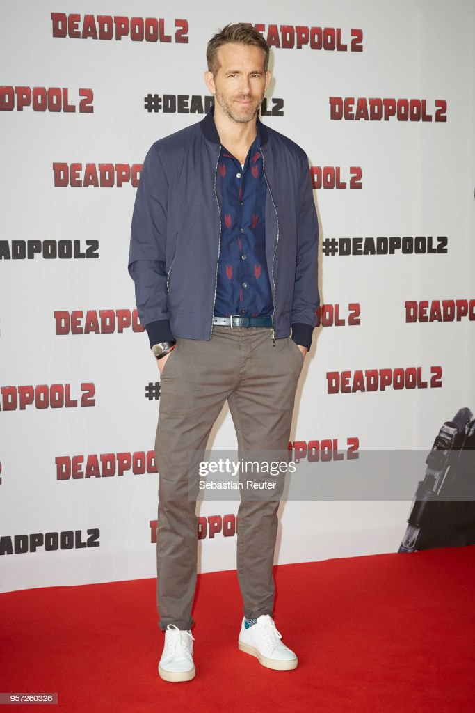 Ryan Reynolds attends the press conference / photo call of 'Deadpool 2' at Cafe Moskau on May 11, 2018 in Berlin, Germany.
