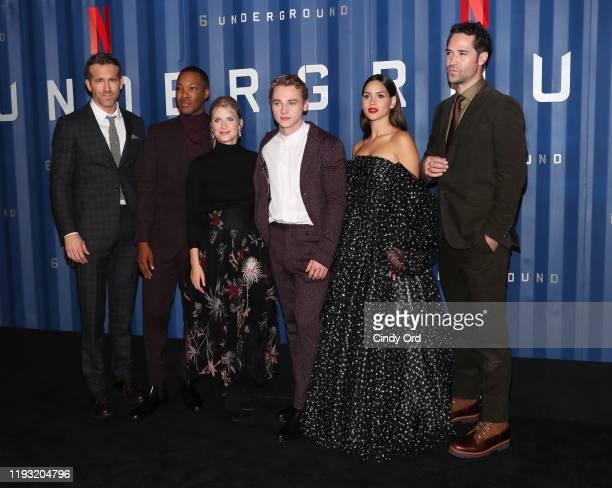 "Ryan Reynolds, Corey Hawkins, Melanie Laurent, Ben Hardy, Adria Arjona and Manuel Garcia-Rulfo attend Netflix's ""6 Underground"" New York Premiere at..."