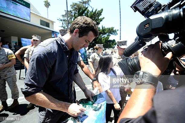 Ryan Reynolds makes appearance at a special screening of Green Lantern for the troops at Marine Corps Air Station Miramar on June 16 2011 in San...