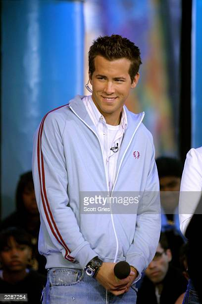 Ryan Reynolds runs the show during a special week of celebrity hosts on TRL at the MTV Studios in New York City 4/4/02 Photo by Scott Gries/Getty...