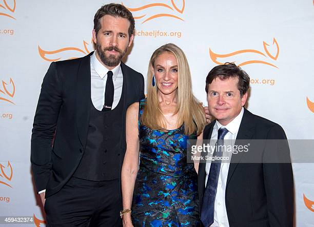 Ryan Reynolds Tracy Pollan and Michael J Fox attend 2014 A Funny Thing Happened On The Way To Cure Parkinson's at The Waldorf Astoria on November 22...