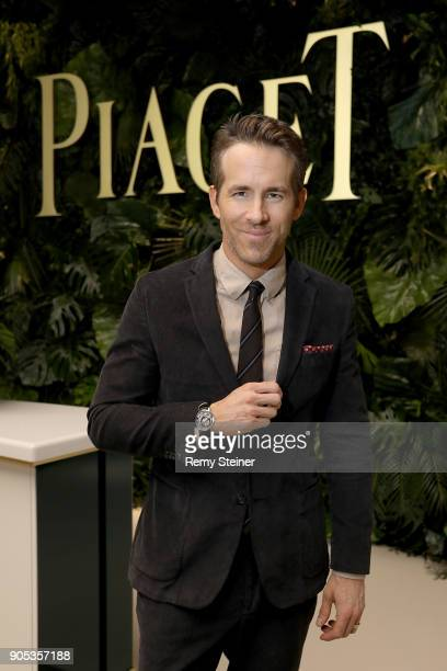 Ryan Reynolds visits the #Piaget booth during the #SIHH2018 on January 15 2018 in Geneva Switzerland