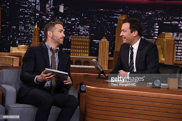 "Ryan Reynolds Visits ""The Tonight Show Starring Jimmy Fallon"" at Rockefeller Center on September 21, 2015 in New York City."