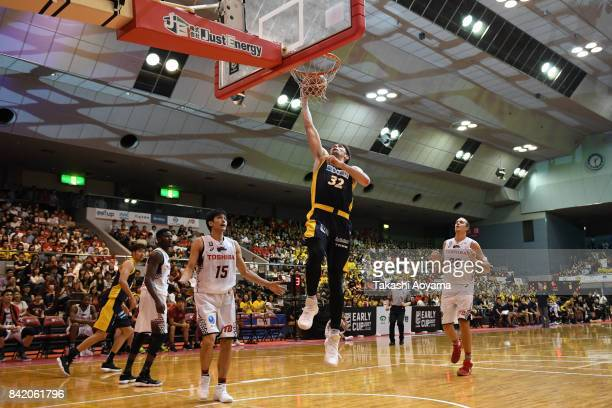 Ryan Rossiter of the Tochigi Brex dunks during the BLeague Kanto Early Cup 3rd place match between Kawasaki Brave Thunders and Tochigi Brex at...