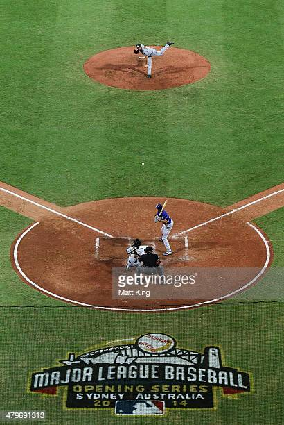 Ryan RowlandSmith of Australia pitches to Andre Ethier of the Dodgers during the match between Team Australia and the LA Dodgers at Sydney Cricket...